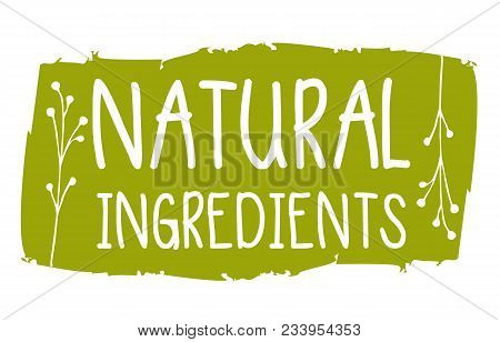 Natural Ingredients Hand Drawn Label Isolated Illustration. Natural Beauty, Healthy Lifestyle, Eco S