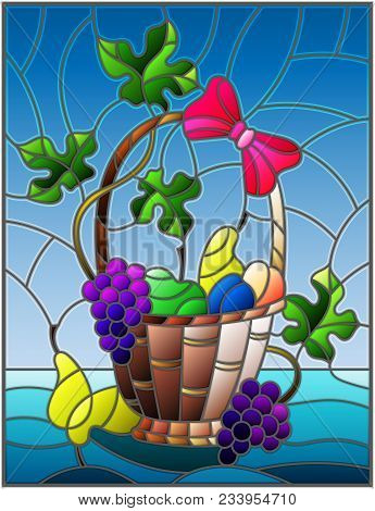 The Illustration In Stained Glass Style Painting With A Still Life, Fruit Basket,  And Fruits On A B