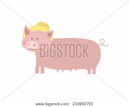 Farm Pet Pig With Hat Illustration Isolated On White Background. Cute Farm Animal, Domestic Livestoc