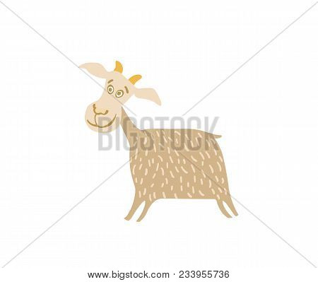 Young Goat Hand Drawn Illustration Isolated On White Background. Cute Cattle Farm Animal, Domestic L