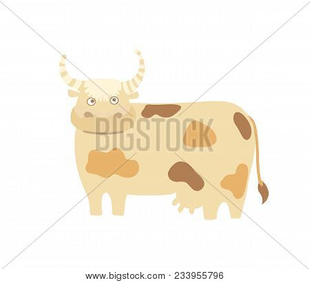 Funny Cow Hand Drawn Illustration Isolated On White Background. Cute Cattle Farm Animal, Domestic Li