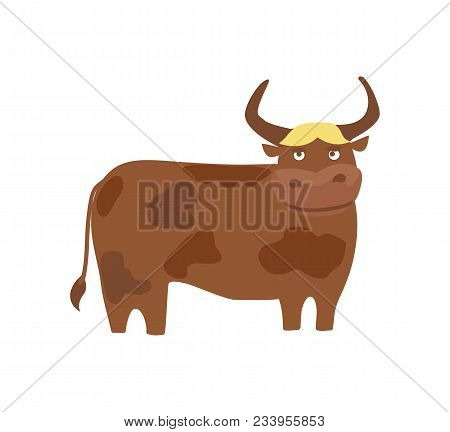 Young Bull Hand Drawn Illustration Isolated On White Background. Cute Cattle Farm Animal, Domestic L