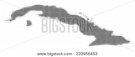 Cuba Map Halftone Vector Pictograph. Illustration Style Is Dotted Iconic Cuba Map Symbol On A White