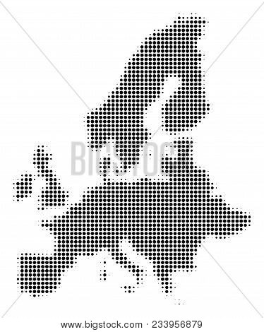 European Union Map Halftone Vector Pictogram. Illustration Style Is Dotted Iconic European Union Map