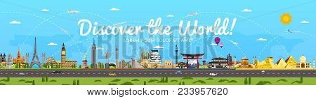 Discover The World Poster With Famous Attractions Illustration. Torii Gate, Statue Of Liberty, Big B