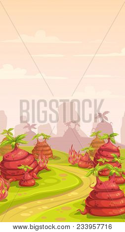 Fantasy World Scene. Magic Cartoon Landscape With Big Red Plants. Alien Planet Location. Vertical Ba