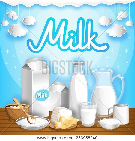 Dairy Advertising With Different Milk Products On Wooden Table. Natural Organic Dairy Product, Fresh