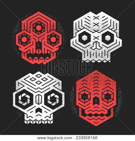 Abstract Monster Skulls Sign Designs. Cool Dead Head Vector Illustration. Unusual Geometric Vector C