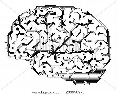 Vector Human Brain Made Of Semiconductor Tracks. Black Circuit Board Tracks On White Background. Ele