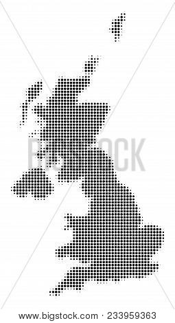 United Kingdom Map Halftone Vector Pictograph. Illustration Style Is Dotted Iconic United Kingdom Ma