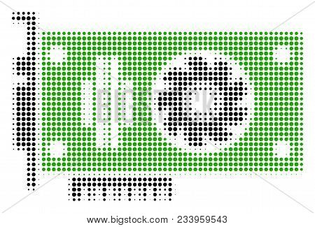 Video Gpu Card Halftone Vector Pictograph. Illustration Style Is Dotted Iconic Video Gpu Card Symbol