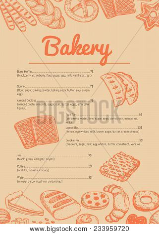 Bakery hand drawn price catalog. Sweet pastry cafe or restaurant menu template, handmade bakehouse banner, tasty food cardillustration. Croissant, puff, pie, bagel and cookie sketches poster