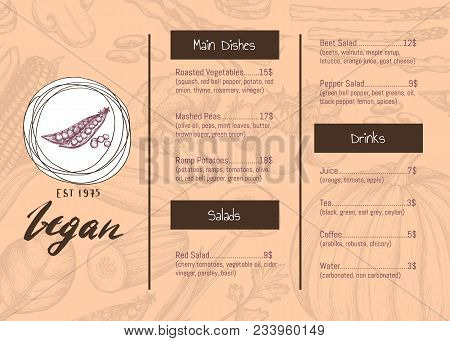 Vegan Restaurant Menu Identity Hand Drawn Design With Vegetable Sketches. Vegetarian Cafe Price Cata