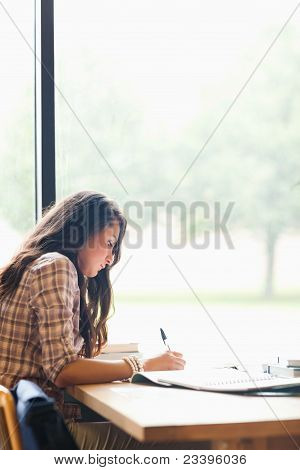 Portrait Of A Serious Young Student Writing An Essay