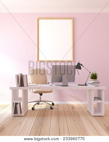 Interior Of A Modern Home Office With Light Pink Walls, A Wooden Table With A Computer On It And A B