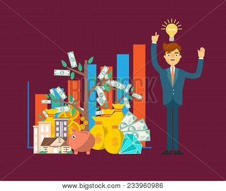 Financial Investment Concept With Businessman. Smart Investment Opportunity In Securities, Real Esta