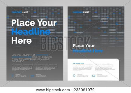 Brochure Layout Template In Techno Style, Cover Design Background. Can Be Adapt To Annual Report, Ma