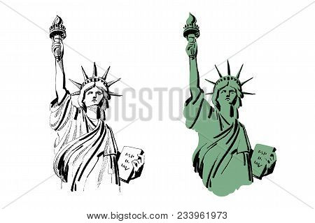 Decorative Background For Design With Statue Of Liberty