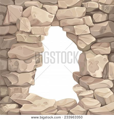 Opening In The Stone Wall. Background Or Frame Of Stone Sandstone