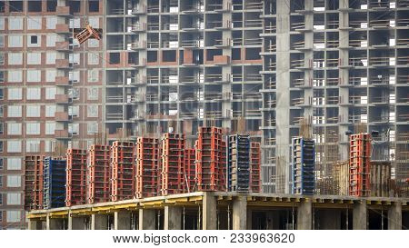 Reinforced Concrete Wall Of A Multi-storey Building In The Process Of Construction. Close Up