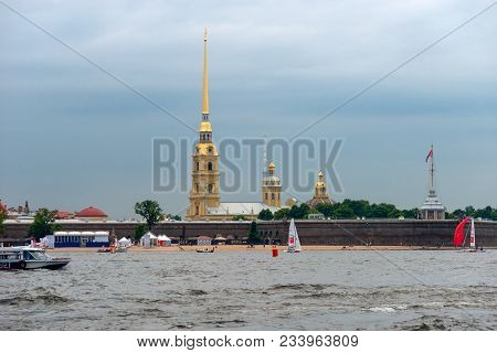 Russia, Saint Petersburg - August 18, 2017: View On The Peter And Paul Fortress, The River Neva, The