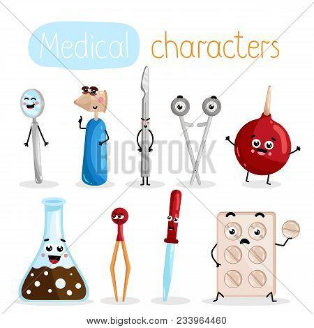 Funny Medicine Equipment Cartoon Characters. Clyster, Tablet Blister, Scissors, Otoscope, Mirror, Sc