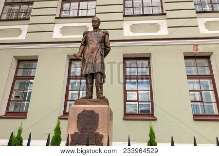 Russia, Saint Petersburg - August 18, 2017: Monument Of The Russian Admiral Pavel Nakhimov Designed