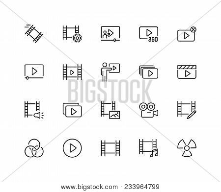 Cinema Icons. Set Of Twenty Line Icons. Player Filmstrip, Camera. Video Content Concept. Vector Illu