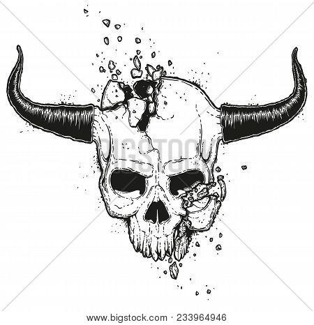 Vector Hand Drawn Illustration Of A Crushed Skull. Monster Jawless Human Skull With Horns. Broken De