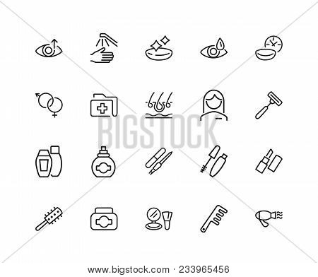 Healthcare And Beauty Icons. Set Of Twenty Line Icons. Woman, Cosmetics, Hairdressing. Healthcare An