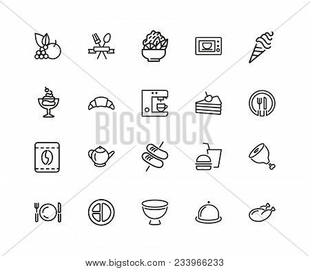 Meal Icons. Set Of Twenty Line Icons. Restaurant, Coffee Shop, Bakery. Food Service Concept. Vector