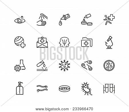 Medical laboratory icons. Set of twenty line icons. Urgent help, test, pill. Medical research concept. Vector illustration can be used for topics like healthcare, medicine, microbiology. poster