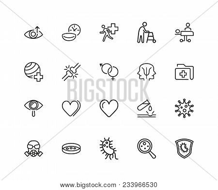 Medical Research Icons. Set Of Twenty Line Icons. Urgent Help, Heart Decease, Virus. Medical Researc