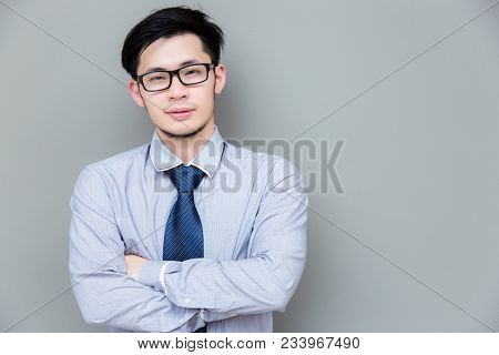 Portrait Charming Handsome Businessman: Attractive Guy Wears Eyeglasses, Shirt, Necktie. Asian Man L