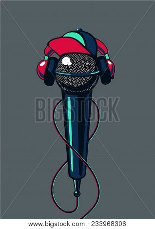 Rap Music Poster For Mc Battle. Hip Hop Microphone With Cap On Isolated Background.