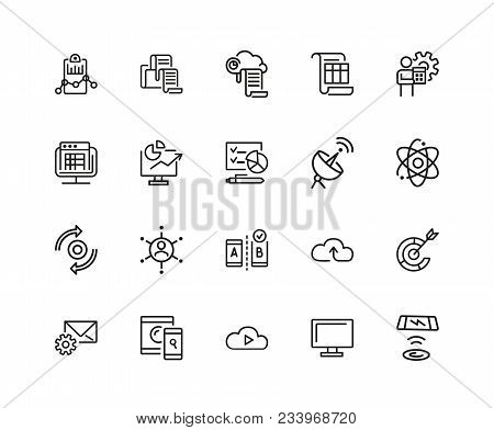 Web Content Icons. Set Of Twenty Line Icons. Analysis, Cloud Service, Satellite. Modern Technology C