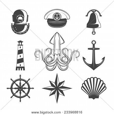 Naval Symbols Collection. Black Icons Isolated On White.