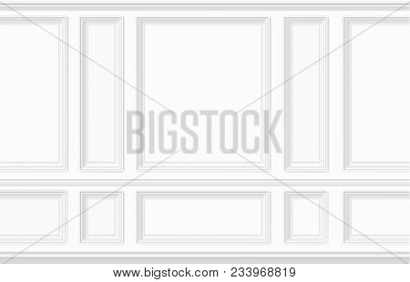 White Wall Decorated With Moulding Panels. Classic Interior Decor Of The Living Room. Seamless Vecto