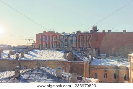 Roof Tops In Old Residential Suburb Neighbourhood In St. Petersburg, Russia. Historic Architecture W