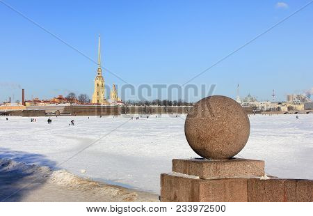 Saint Petersburg (russia) Winter Cityscape View From Neva River Waterfront And Peter And Paul Fortre