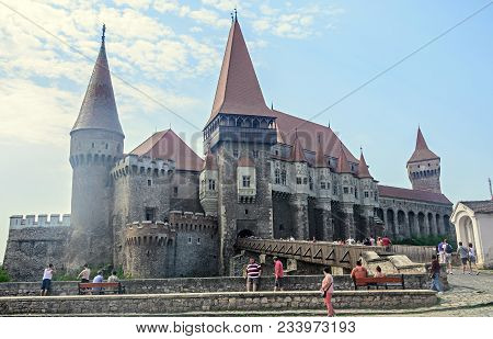 Hunedoara, Romania - August 5, 2017: Tourists Visits The Corvins Castle Build By John Hunyadi