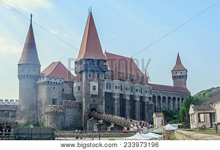 Hunedoara, Romania - August 5, 2017: Tourists Visits The Corvins Castle Build By John Hunyadi.