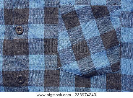 Plaid Checkered Shirt Blue And Black Tartan Pattern. Close Up View Of Front Buttoned Shirt, Urban Vi