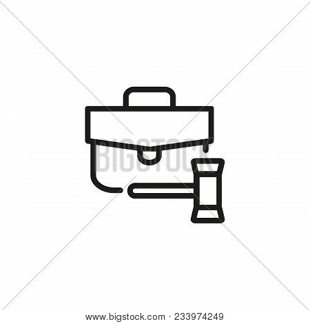 Line Icon Of Briefcase And Gavel. Evidence, Portfolio, Attorney. Court Concept. Can Be Used For Topi