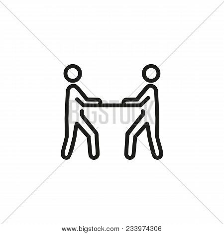 Line Icon Of Two People At Table. Face-to-face Interrogation, Interview, Debate. Court Concept. Can