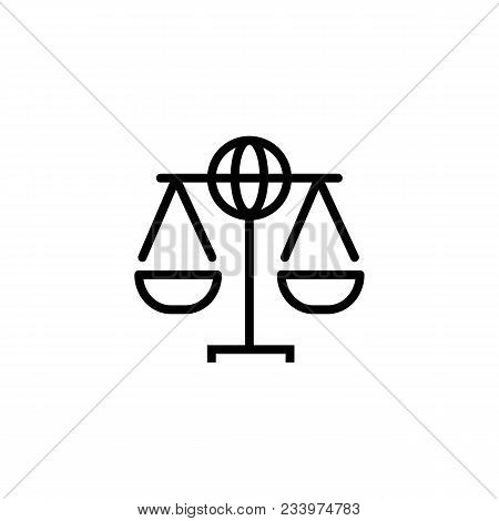 Line Icon Of Scales With Globe. Global Law Symbol, International Law, Human Rights. Law Concept. Can