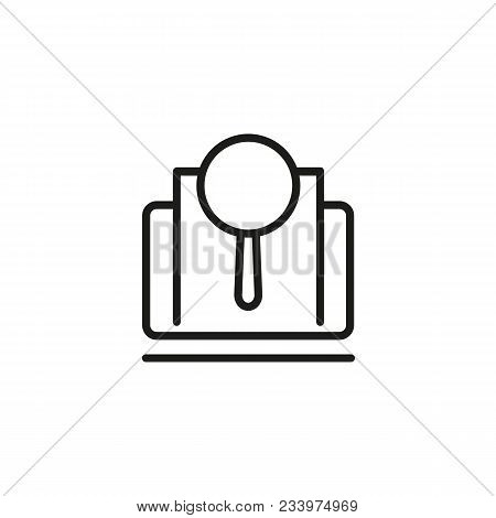 Line Icon Of Magnifying Glass On Paper. Detective, Research, Browser. Investigation Concept. Can Be