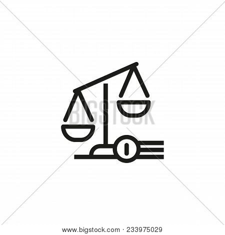 Line Icon Of Scales. Judgement Symbol, Law, Balance. Court Concept. Can Be Used For Topics Like Legi