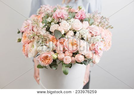 Flowers Set. Beautiful Luxury Bouquet In Woman Hand. The Work Of The Florist At A Flower Shop.