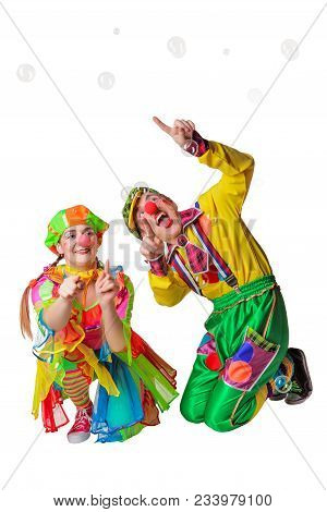 Two Cheerful Clowns Joy In The Soap Bubbles Isolated On The White Background